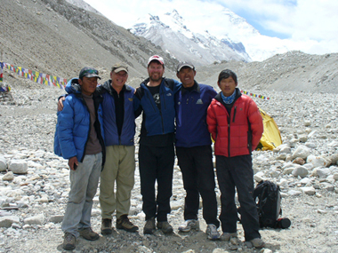 Lhakpa Gelu and group at Everest base camp