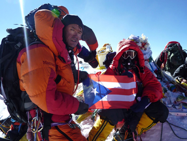 Lhakpa Gelu and others on the summit of Everest